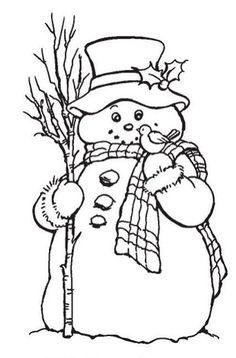 Stampendous - Cling Mounted Rubber Stamp - Country Snowman by aida Christmas Images, Christmas Colors, Christmas Art, Christmas Drawing, Christmas Paintings, Snowman Crafts, Xmas Crafts, Colouring Pages, Coloring Books