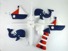 Baby Mobile Sewing Pattern Boys Nautical Baby Mobile Red White Blue by MaisieMooNZ