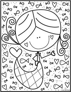 Mermaid Coloring Club — From the Pond Preschool Coloring Pages, Free Printable Coloring Pages, Colouring Pages, Coloring Pages For Kids, Adult Coloring, Coloring Books, Drawing For Kids, Art For Kids, Crafts For Kids