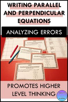 Help your high school Algebra or 8th grade students build rigor by finding errors in problems. This resource includes 10 writing parallel and perpendicular equations with an error in each which the student needs to find and then solve correctly. Color and B/W copies, cooperative group instructions, answer sheet, and worked out answer key are included. #error analysis #mistake #error, #equations, #parallel equations #task cards #Algebra #Algebra I #perpendicular equations #distributive property High School Algebra, Algebra 1, Math Resources, Math Activities, Fun Math, Math Class, Secondary Math, Teaching Math, Task Cards