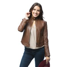 United Face Womens Textured Leather Moto Jacket