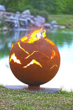 Alpenglow - Mountain Sunset Outdoor Fire Pit - Sculptural Sphere by Steel Fire Pit, Fire Pits, Fire Pit Sphere, Fire Pit Gallery, Custom Fire Pit, Giant Pumpkin, Mountain Sunset, Fire Bowls, Light My Fire
