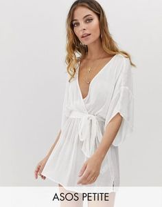 542c9ed17a1 ASOS DESIGN Petite plunge tie waist kimono sleeve crinkle beach cover up in  white Beachwear For