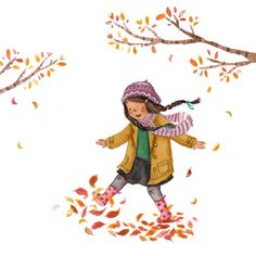 Antonia Woodward Illustration - antonia woodward, commercial, trade, picture book, picturebook, novelty, sweet, fiction, traditional, painted, young, girls, autumn, leafs, autumnal, playing, scarf, coats, hats,