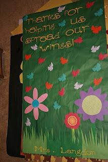 staff appreciation banner... with butterflys made from kids hand prints?