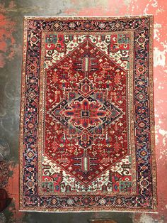 7x10 Antique Persian Heriz Rug Fresh Arrival c.1930s Rare