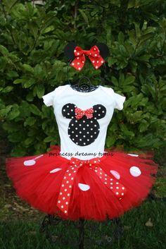 Minnie Mouse TuTu- I'm pass the whole TuTu thing but red polka dot material with tulle underneath would be cute too.