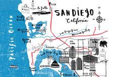 San Diego map for Elle magazine - Charlotte Farmer