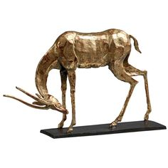 Bungalow 5 Antelope Straight Horn Statue in Gold