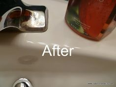 How to get rid of mineral deposits around faucets.