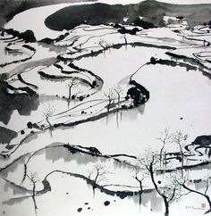 Wu Guanzhong (1919 –  2010) was widely recognized as one of the most important Chinese artists and founder of modern Chinese painting. His subjects, depicted in a style reminiscent of early 1900 Impressionism, were landscapes, waterscapes, architectures, fauna and flora of China.