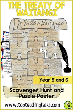 The Treaty of Waitangi Reading Comprehension Scavenger Hunt Puzzle Year 5 and Use this engaging resource to teach your upper primary students about the commemoration and history of Waitangi Day and the Treaty of Waitangi. This fun reading comprehension Reading Comprehension Activities, Reading Resources, Literacy Activities, Teaching Reading, Learning, Treaty Of Waitangi, Waitangi Day, History Activities, Primary Classroom