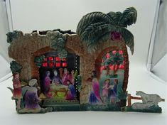 Alte Originale Weihnachtskrippe geprägte starke Pappe Karton Jesu Kindlein