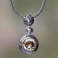 Citrine pendant necklace, 'Sunny Bali'