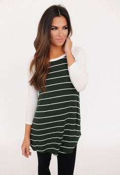 Striped/Solid Sleeve Tunic- Olive - Dottie Couture Boutique