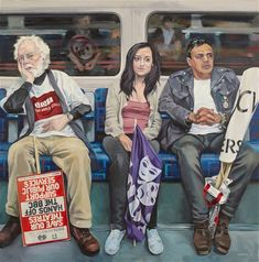 Artist Ewing Paddock& three-year project of painting people on the London Underground. Nostalgia, A Level Art, Painting People, Journey, London Underground, Gcse Art, Kawaii, London Art, Environmental Art