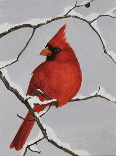 Bird Painting Acrylic, Bird Paintings On Canvas, Christmas Paintings On Canvas, Painting Snow, Winter Painting, Winter Art, Watercolor Bird, Canvas Art, Painting Canvas