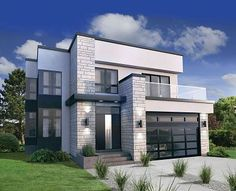 A striking exterior is the highlight of this two-story contemporary design. The narrow width makes the home suitable for just about any lot.