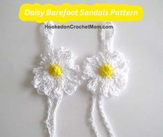 Crochet Pattern Daisy Flower Barefoot Sandals