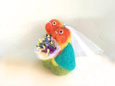 Love birds wedding cake topper love birds lovebird by Felt4Soul