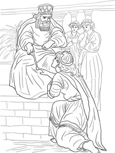 Esther Before King Ahasuerus coloring page from Queen Esther category. Select from 20946 printable crafts of cartoons, nature, animals, Bible and many more.