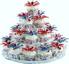 Fourth of July:  Fireworks cupcake tower