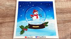 Snow Globe and Mistletoe   Easy Acrylic Painting Winter Holiday   Joy of... Painting Snow, Painting & Drawing, Globe Drawing, Small Canvas Art, Simple Acrylic Paintings, Winter Art, Painting Tutorials, Mistletoe, Winter Holidays