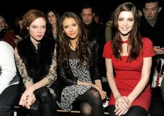 Front row girls at DKNY NYFW 2012 - Coco Rocha, Nina Dobrev and Ashley Greene. Loving both Nina's and Ashley's hair!