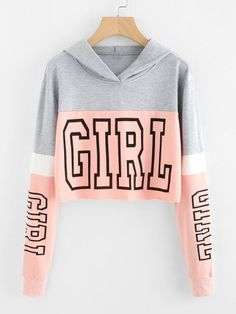 Girl Print Color Block HoodieFor Women-romwe