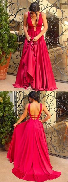red v-neck long prom dress a-line satin backless formal evening dress,HS280  #fashion#promdress#eveningdress#promgowns#cocktaildress