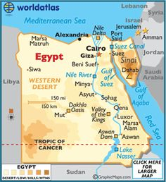 This is a map of Egypt that shows its coastal location. There was once an upper and lower Egypt until the unification around 1300 BC when Namer became the first king of the first dynasty and unified the two regions of Egypt.