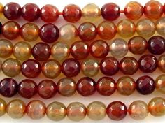 Pantone Spring Colors 2015...Marsala, Sandstone, Toasted Almond...Happy Mango Beads...Red Agate Round Gemstone Beads 6mm (GS3178)