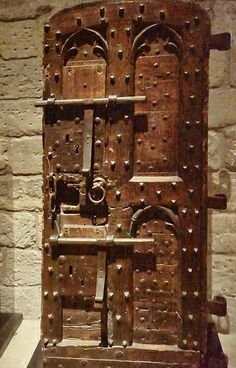 Heavily reinforced door in the Palace of the Popes in Avignon, France 14th century CE
