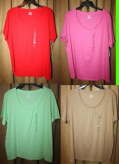 Woman's Size 2X Short Sleeve Top Red,Brown,Green or Pink by Jones New York NEW | eBay