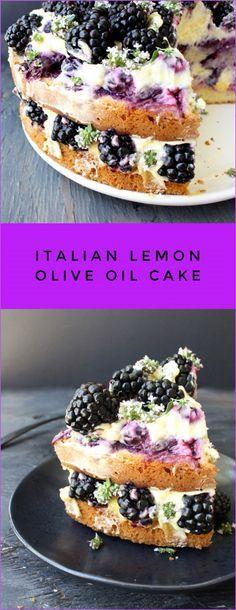 Italian Lemon Olive Oil Cake Recipe with Whipped Mascarpone, Blueberries, Blackberries and Lemon Curd   CiaoFlorentina.com @CiaoFlorentina