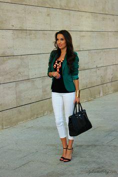 Teal blazer + black tank + white jeans + heels