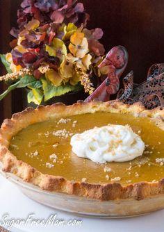 Sugar-Free Low Carb Gluten Free Pumpkin Pie- grain free pie crust- sugarfreemom.com