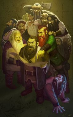"""Art by Frank Venice - Dwarves deciding how to find the treasure.  Ever heard the adage, """"too many cooks in the kitchen?""""  Same concept"""