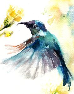 Watercolor Painting Art Print Blue Humming Bird by CanotStopPrints                                                                                                                                                                                 More