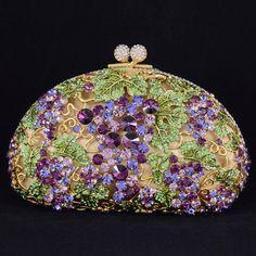 Lavender and Green Essence ✦ Luxurious Purple Leaves Grape Clutch Evening Bag Handbag Purse ✦ from my board: Vintage Purses, Vintage Bags, Vintage Handbags, Beaded Purses, Beaded Bags, Vanity Case, Luxury Bags, Beautiful Bags, Evening Bags