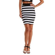 Striped Bodycon Pencil Skirt: Charlotte Russe