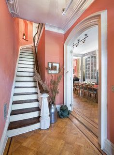 Ben Moore Coral Rock Flat 032 Foyer, Historic Townhouse, Brooklyn, New York - Traditional - Staircase - other metro - by Vanni Archive/Architectural Photography
