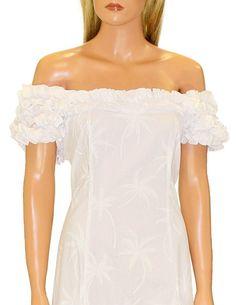 Loulu Palms Design White Wedding Floral Muumuu Dress Sz XS 4XL | eBay