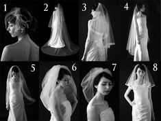 Types of wedding veils : cage , garden , cascade , traditional , mantilla , drop , bubble etc