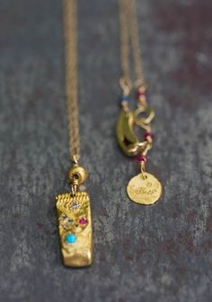 Talisman Precious chased gold and precious stones by Esther Assouline exclusively in Jewelry Designers…