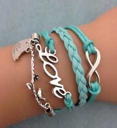 Birds On A Branch, Love, Infinity Fashion Bracelet,handmade bracelet ,diy leather bracelte only $2.99 shop at Favorwe.com