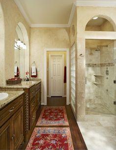no shower door, glass blocks for light/splash