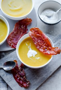 Butternut Squash and Leek Soup with Crispy Prosciutto and Creme Fraiche @blogoverthyme