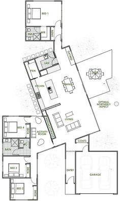 A Green Homes design is always of the highest quality. The Bond energy efficient home design is one of many quality driven houses we have on offer. Most Energy Efficient Floor Plans Dream House Plans, Small House Plans, House Floor Plans, Greenhouse Kits For Sale, Greenhouse Plans, Large Greenhouse, Green House Design, Modern House Design, Home Design Floor Plans