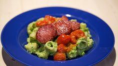 Pipe rigate met gebakken salami en groene ricotta - recept | 24Kitchen